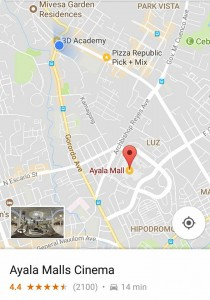 Direction to Ayala mall from 3D academy