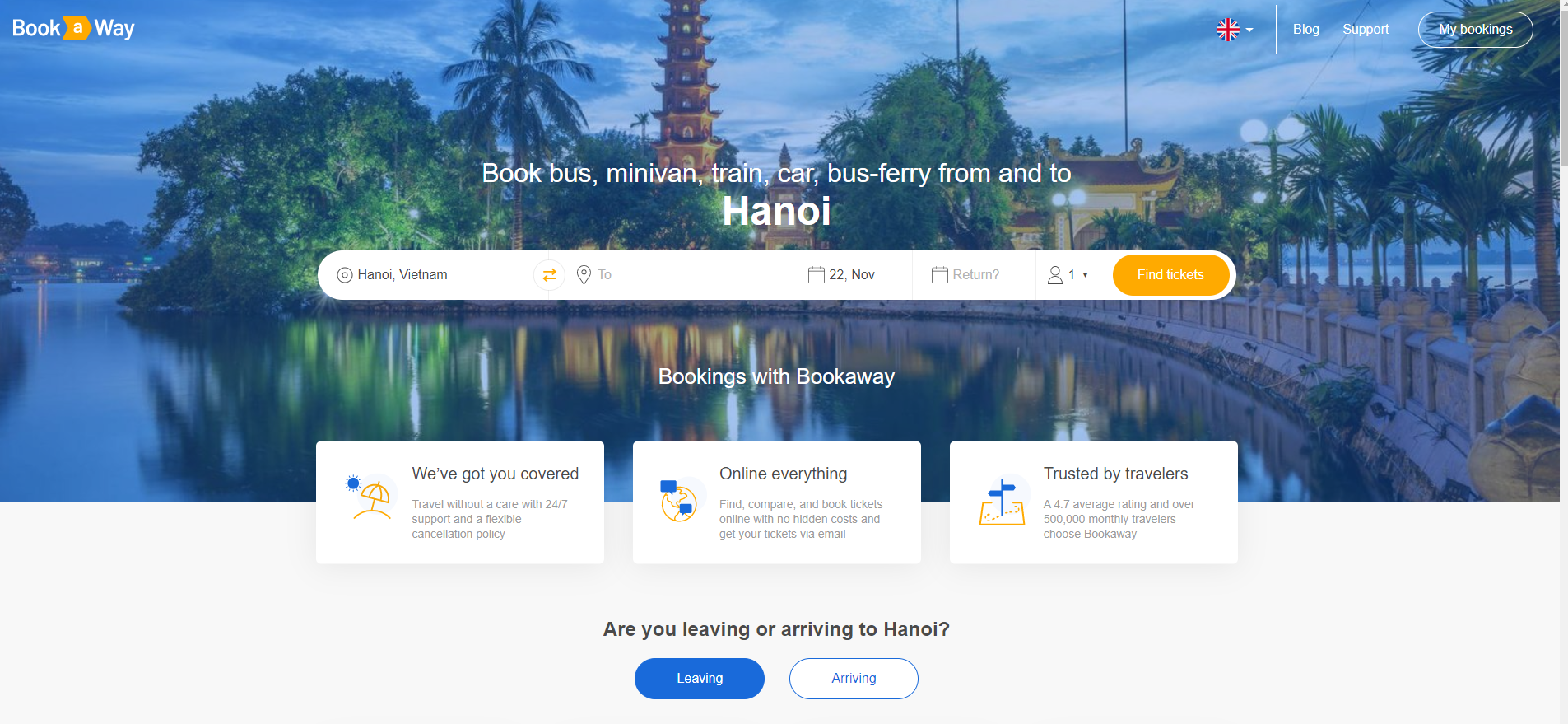 """Book a trip to and from Hanoi and enjoy 5% discount by entering promo code """"3duniversal5"""" at the payment page! Click here to book"""